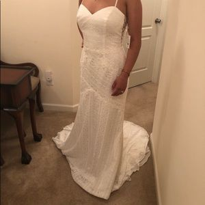 Davids Bridal Lace Wedding Dress Ivory Size 6